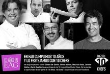 """10 años 10 Chefs / En EAG cumplimos 10 años y lo festejamos con 10 chefs, de larga trayectoria como Donato de Santis, Olivier Hanocq, Mauricio Asta, Jerome Mathe y Darío Gualtieri que participarán de 10 imperdibles Master Class. No te pierdas la oportunidad de ser parte de """"10 Años. 10 Chefs""""."""