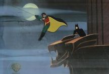 DC Comics Production Cels / A production cel is one-of-a-kind and used in the creation of an animated film or cartoon short. It is hand-painted, and photographed over a background painting to create a frame of the production. Because one background is used under a sequence of cels, the production art is usually sold with a reproduction of the original background. A cel with an original background is very rare. The move to computerized animation severely curtailed the supply of artwork on the market.
