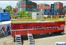 40`Mobile Fire Training Storage Unit / Featured here is a 40' mobile fire training storage unit made out of a 40' ISO shipping container. A modified container (40') was modified and put on a trailer chassis making it easy to move from site to site.