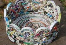 Artes com papel 2 (jornais, livros e revistas) / Trabalhos, passo a passo e vídeos sobre cestaria em folhas de jornal e revistas e outras técnicas com esse material.