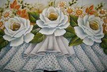 Pintura em Tecido - Barrados 1 / Peças de pintura em tecido, principalmente barrados falsos