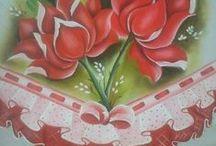 Pintura em Tecido - Barrados 2 / Trabalhos prontos e riscos de pintura com barrados falsos.