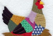 Chicken applique / chicken cushions