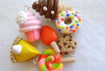 Beads: polymerclay, food / Beads, millefiori, food like and unusual
