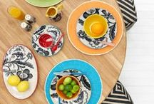 t r e n d // patterned dinnerware / Me & My Trend's Linea dinnerware is bold and fun with a contrasting monochrome hand-printed pattern with quirky accented colour details!