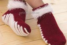 Crochet and knitting socks, Slippers, mittens - Вязаные носки, тапки, варежки. / Crochet and knitting - Вязание крючком и спицами