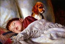 Мило/Nice / Children and animals, children in paintings, paintings with children and animals