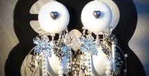 bijoux diy / Boucles d'oreilles blanches et argent
