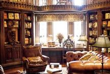 The Castle Study. / Off of the main library is the study. It is a place with an abundance of paperwork filing drawers, furniture to house the stationary and pens, etc. It is the same wood as the library, but the shelves are filled with more than books- wax seals, feather quills, statues, etc. Brown leather is a theme. A place for all paperwork. Please pin to your hearts content.