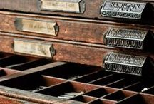 Vintage storage drawers,   card catalog / by Nadin Knk