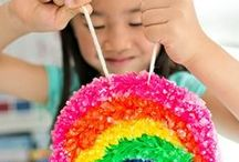 Rainbow Inspired Creations / Rainbow Themed Crafts and Activities, Rainbow Foods, and other ways to play with rainbow colors!