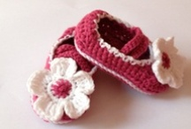 Crochet baby booties and baby shoes