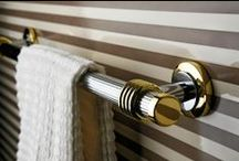 Retro Bathroom Accessories / Retro style bathroom is a challenge for all designers and interior decorators. Our range of bathroom additions Retro meets all the requirements it may be impose design made just that.  Beginning of bathroom accessories in an old gold after raw retro chrome.  #retrobathroom