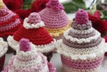 """Crocheted Desserts & Miscellaneous Foods / Notice: I do NOT currently crochet. Although decades ago I learned a couple of stitches to crochet a horse & a duck, """"that was then; this is now."""" Things here & on 3 more crochet-related boards simply intrigue me! N.B. Crocheted fruits & veggies usually appear on my Fruits & Veggies in the Arts board, except if shown with other foods. Also, please see my Visual Arts of Many Kinds board for a list of many of my boards related to art (which I define broadly). I invite you to visit all my boards! / by Natalie Gorvine"""