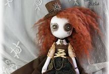 Steampunk Dolls / Steampunk style, button eyed, cloth art dolls by Jo Hards