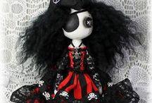 Pirate Dolls / Gothic pirate cloth art dolls with button eyes by British vegan artist Jo Hards