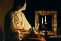 Georges de La Tour / Жорж Дюмени́ль де Лату́р,  Georges de La Tour; (14 марта 1593 — 30 января 1652) — лотарингский живописец, крупнейший караваджист XVII века, мастер светотени. В XVIII—XIX веках его имя было предано забвению. Творчество мастера, забытое после его кончины, было заново открыто только в 1940-х годах; первая публикация о нём вышла в 1915 году. Для его картин характерна  строгая композиция, отсутствие лишних деталей и - главное - напряжённость религиозного чувства.