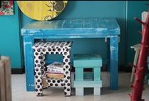 funky tables,side tables-stools / all little rocks items are a project of upcyling