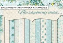 """Lemoncraft collections / High-quality paper for scrapbooking and other craft techniques. Perfect for making layouts, albums and greeting cards or invitations. Acid-free and lignin-free, with a weight of 250g and 190g, printed on two side in a charming, romantic patterns. Dimensions a single sheet 30,5 x30,5cm (12 """"x12""""), plus a strip with the name. Made in Poland."""