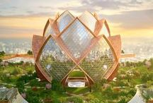 Green Building / Green building, sustainable building materials, natural heating/cooling systems, permaculture design, vertical gardening, solar panels, wind power, sustainable architecture