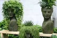 Pot Head's  / Very cute , creative way's to make your garden the topic of cute yards . / by Julie Riccardi Marumoto