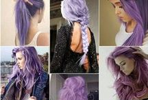 colored hair. purple. lavender.