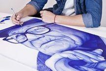 MiradAzul / Proyecto de retratos a bolígrafo Bic