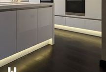 Kitchen Led Ideas / led strip can enhance any kitchen giving a continuous line of lighting be it decrative or task ligthing.