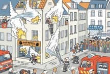 Hulpdiensten. / Brandweer, politie, ambulance.