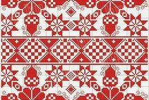 Crewel work, cross stitch, hardanger