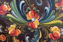 Rosemaling - Norwegian Art / Rosemaling, Norwegian traditional folk art / painting.