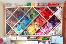 Craft Spaces and Storage by Four Purls Yarn Shop / We don't know about you, but we want to move into some of these craft spaces. They are great for inspiration and organizing ideas. How do you store your yarn?