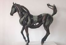 Bronze Horses / Horses cast in bronze from driftwood - by Heather Jansch