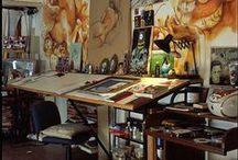 Art Room Stuffs / art spaces, studios, art rooms, supplies storage, inspirational spaces