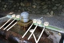Purification pools in Japanese temples