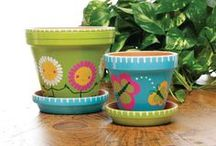 Painted terra cotta pots / by I T