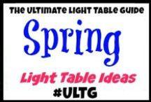 Light Table Spring and Spring Holidays / #ULTG #lighttable #lighttables #lightplay #homeschool #learning #teaching #lightbox #playingwithlight #sensory #sensoryboxes #sensorybins #sensoryplay #slime #goop #gak #sillyputty #oobleck #Spring #Easter #StPatricksDay #CincoDeMayo #eastereggs #plasticeggs #egghunt #glowingegghunt #glowinthedarkegghunt