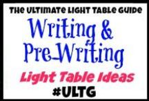 Light Table Writing and Pre-Writing / #ULTG #pre-writing #prewriting #writing #writingideas #ece #lighttable #lighttables #lightplay #homeschool #learning #teaching #lightbox #playingwithlight #sensory #sensoryboxes #sensorybins #sensoryplay #slime #goop #gak #sillyputty #oobleck #sand #epsomsalts #markers #painting #tracing