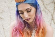 Trendy Haircolors / Colorful hair trends: mermaid hair color, balayage, pastel hair color, galaxy hair, oil slick hair, vivids and bright colors, ombre, grey silver, etc.
