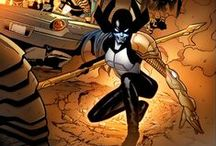 Proxima Midnight & Supergiant / Proxima Midnight is one of Thanos' generals in the Black Order. (Her husband is Corvus Glaive). Proxima possesses great strength, agility and fighting ability. Her spear when thrown transforms into three tracers of black light that never miss. The beams are lethal to most creatures. ★ Supergiant is a member of Thanos' Black Order, she is a mentally unstable omnipath and telepathic parasite who seeks out intellect and devours it. She can control, steal or devour the mind of her victims #Marvel
