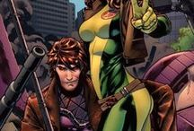 Rogue & Gambit / Remy Etienne LeBeau aka Gambit is a charming master thief and he possesses the mutant ability to charge inanimate objects with kinetic energy, causing them to explode. Gambit's signature move is throwing charged playing cards. ★ Anna Marie aka Rogue is a mutant with the ability to drain a living being's essence upon physical contact, giving them a biophysical shock while synthesizing into her body their physical skills, memories, personality traits, and superhuman matrices to a varying degree.