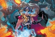 All-New Thor | Jane Foster / Jane Foster aka Thor ★ As Thor, Jane wields Mjolnir, and like those before her, she has been bestowed with power equal to that once possessed by the Odinson by the hammer; whatever powers she may or may not possess outside of those provided by Mjolnir are unknown. Jane is currently battling breast cancer; a fight that she'll continue even as the god of thunder. Whenever Foster puts the hammer down, she will revert back to her weakened, cancer-plagued mortal form. #Marvel