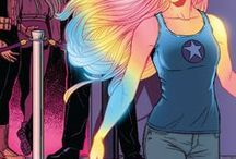 Lucy in the Sky | Karolina Dean / Karolina has powers due to her alien (Majesdanian) physiology. She is able to absorb solar radiation and convert it into a unique energy type which she can manipulate for various uses. In her natural state, her skin and hair fluoresce with shimmering, rainbow-colored light. She is able to fly, leaving behind a contrail of the same energy surrounding her. She can also project the energy in a beam of variable intensity and diameter, from a wide concussive blast to a thin cutting beam.   #Marvel