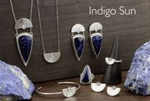 INDIGO SUN COLLECTION / The INDIGO SUN collection is handcrafted with deep blue Sodalite of exceptional quality, beautiful Rainbow Blue Moonstone and sterling silver. Sodalite shield stones are all hand cut and polished in my studio.  The Sodalite in this collection is such a gorgeous dark blue and takes a nice, high shine polish.   Sodalite is said to bring inner peace and a sense of harmony, while Moonstone promotes inspiration.