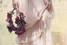 Bohemian wedding / Wild flowers - Wooden tables - Candle light - Wild romance - Flowing dresses - Lace - True Love - Bohemian vibe - Flowercrown