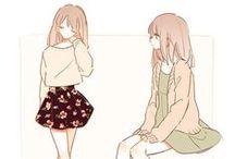 ちび かわいい ♡(๑>∪<๑) / Chibi e referências de poses infantis.