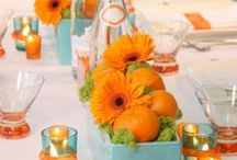 Falling for ORANGE / You'll certainly remember a color like orange - and the wedding that went with it!  Orange is the perfect color for a fall wedding or it can be combined with brighter colors like pink or yellow if you want to use it for a spring or summer wedding.  #planestry #engaged #weddings