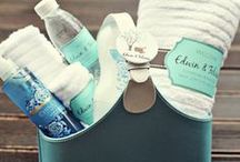 A Big Warm Welcome / Everyone knows how great it feels to arrive at the hotel and see a gift bag waiting for you!  Now's your chance to get creative and really leave your guests something to talk about! And that's only the beginning... #planestry #weddings #engaged #welcomebasket