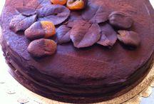 Autumn Sacher Torte / Sacher con foglie di rosa al cioccolato e albicocche disidratate