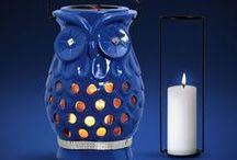 Peças Decorativas Azul Bic com Espelhos / Lindas peças em cerâmica na cor azul bic brilhante e detalhes em espelhos. Um luxo para o ambiente